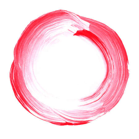 Abstract circle acrylic and watercolor painted background. White and pink grunge paint element isolated on white. Modern design element. Watercolor frame. Acrylic textured background.