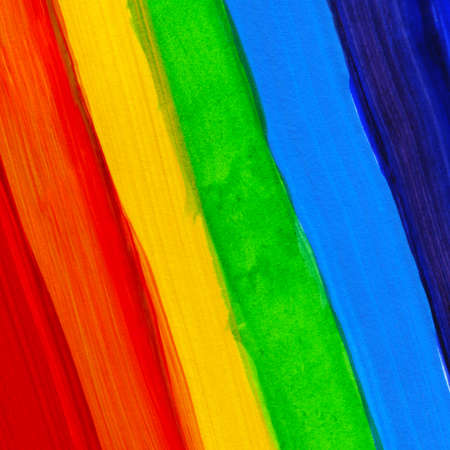 Abstract acrylic hand painted background. Watercolor rainbow flag. Symbol of lgbt, peace and pride. Rainbow backdrop from strips for design flyer, brochure, web banner.