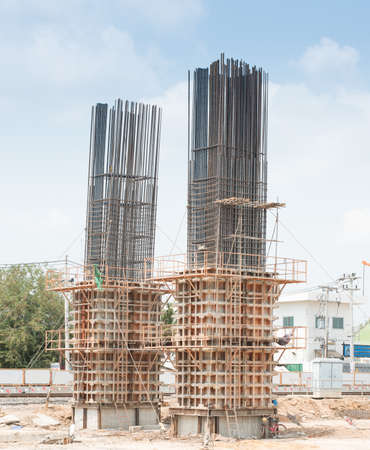 concreting: Metal formwork used for building the concrete constructions.