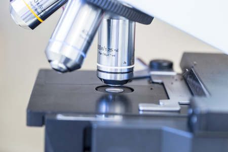cytology: objective lens of microscrop Stock Photo