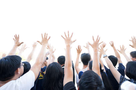 Hands Up: Group of people lifting hands isolated white background Banco de Imagens