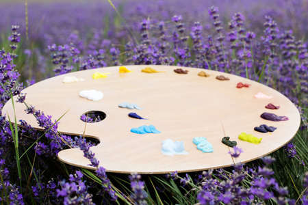 Easel in lavender field photo