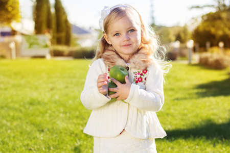 Child with green apples sitting on grass photo