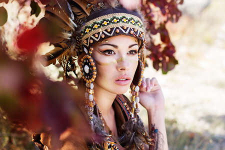 chieftain: Portrait of a young lady in the Indian roach Stock Photo