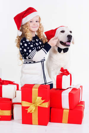 isolates: Pretty blonde girl with her friend white labrador dog are wearing christmas hats isolates on white
