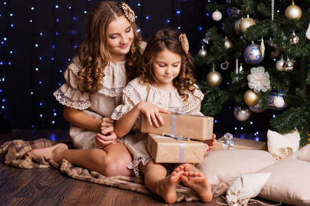 family and friends: Pretty two girls are holding gifts at home near christmas tree Stock Photo