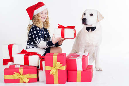 isolates: Pretty blonde child girl with her friend white labrador retriever are sitting with gifts isolates on white in studio Stock Photo