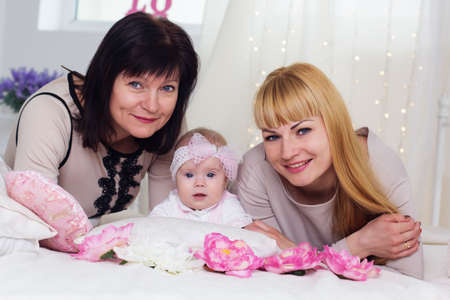 Three steps of family generation: grandmother, mother and granddaughter