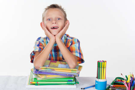 milk tooth: Funny schoolboy without milk tooth, isolated over white background