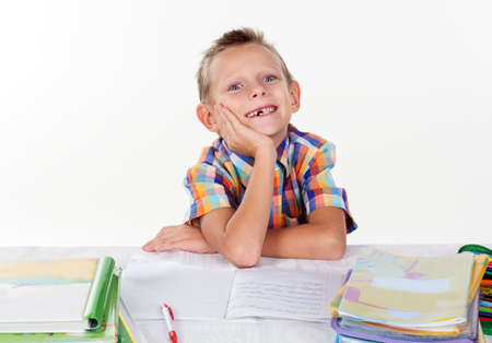 milk tooth: Happy boy without milk tooth, isolated over white background Stock Photo