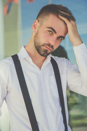 Closeup Portrait Of Young Handsome Serious Businessman With Short - Businessman haircut