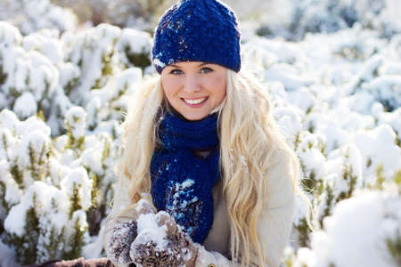 snow woman: beautiful winter woman with snow