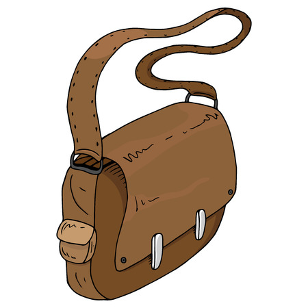 Schoolbag. Vector illustration of a schoolboy's briefcase, a student. Hand drawn briefcase businessman. 矢量图像