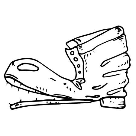 Bota vieja. Ilustración de vector de zapatos viejos rasgados.