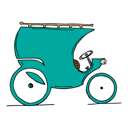 Crew carriage stroller. Vector illustration old car. Hand drawn vintage carriage car.