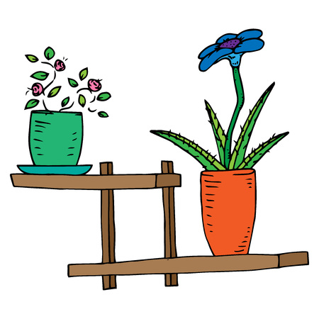 Home plants. Vector illustration of a home flower in a pot. Hand drawn homemade potted plant.