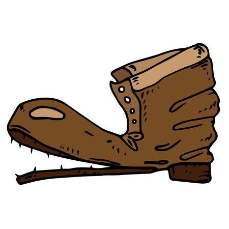 Old boot. Vector illustration of old torn shoes.Hand drawn  torn boot.