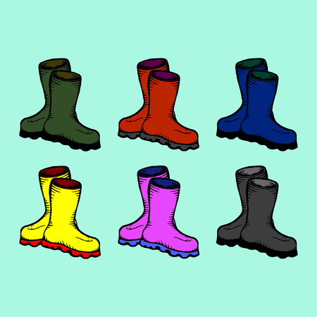 Colored rubber boots vector set. vector illustration