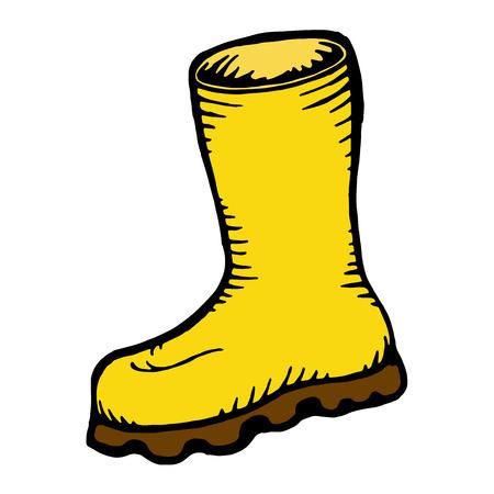 hand drawn yellow boots icon. vector illustration Illustration