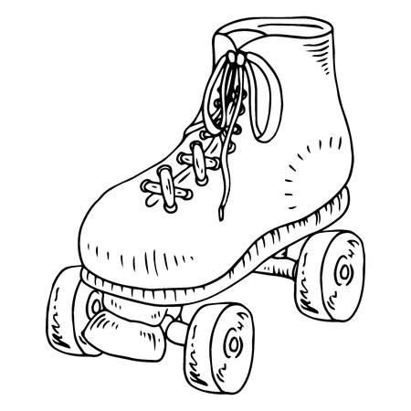 Roller skates icon. Vector illustration of childrens roller skates. Hand drawn roller skates. Stock Illustratie