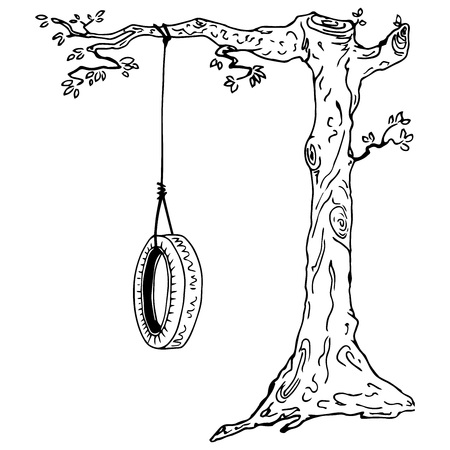 Kinderschaukel auf einem Ast. Handgezeichnete Schaukel aus dem Autoreifen. Vektorillustrationsrad, das an einen Baumast gebunden ist. Vektorgrafik