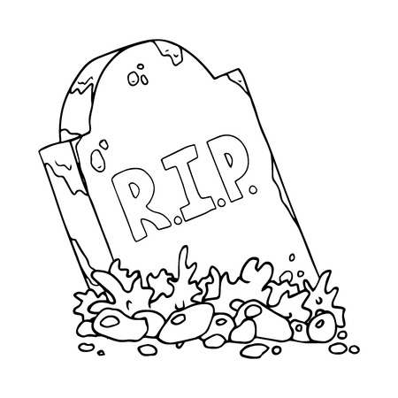 The gravestone with the inscription RIP. The sloping tombstone. Vector illustration.