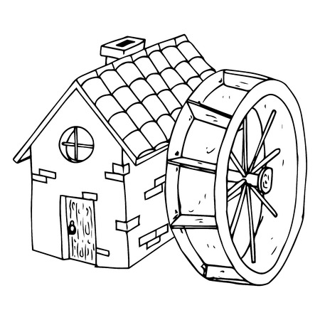Mulino ad acqua. Casa con tetto in tegole. Casa con porta in legno e finestra rotonda. Illustrazione vettoriale. Vettoriali