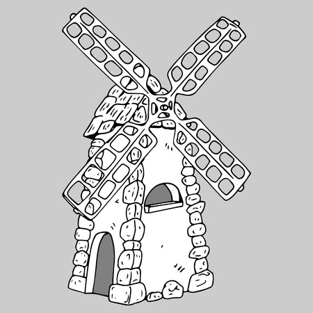 Windmill with stone masonry. Hand drawn of a windmill. Vector illustration.
