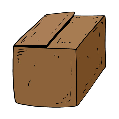 Open cardboard box. Vector illustration.