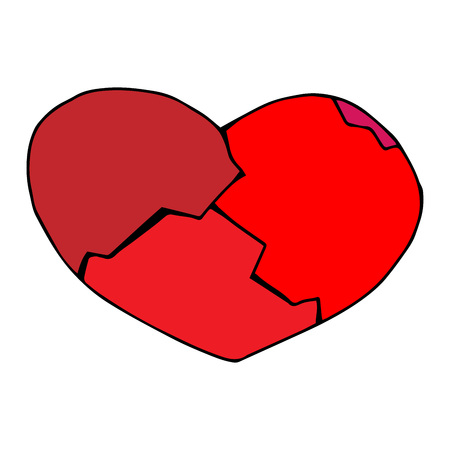 Broken red heart from several pieces. The collected heart from pieces. Vector illustration.