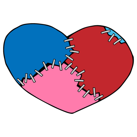 Broken heart from several pieces. Collected heart from red, blue and pink pieces with the help of staple staples. Vector illustration.