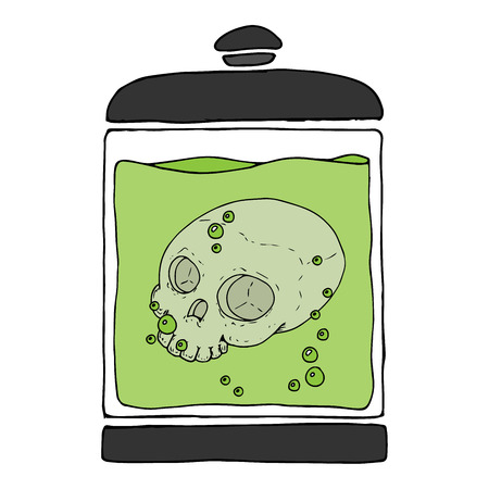 Medical jar with a skull in a liquid. Skull without lower jaw. Fluid with bubbles. Vector illustration.