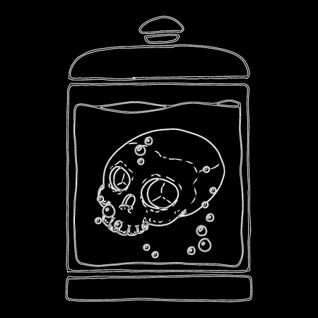Medical jar with a skull in a liquid. Skull without lower jaw. Skull contour on a black background. Fluid with bubbles. Vector illustration.