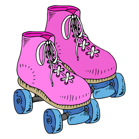 Classic roller skates. Laced roller skates. Vector illustration of childrens roller skates. Roller skates with four wheels. Stock Illustratie