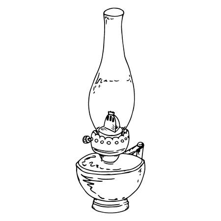 Kerosene lamp. Oil lamp. Vector of a kerosene lamp. Hand drawn old oil lamp. Illustration