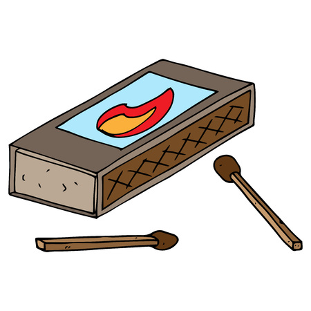 A closed box of matches with a picture of fire.  Wooden matches. Scattered matches. Vector illustration.