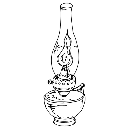 Kerosene lamp. Oil lamp. Vector illustration of a kerosene lamp. Hand drawn old oil lamp. Ilustração