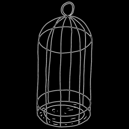 Bird's cage. Vector illustration of an empty bird cage for a parrot. Concept of freedom. Hand drawn empty cage for birds. Illustration