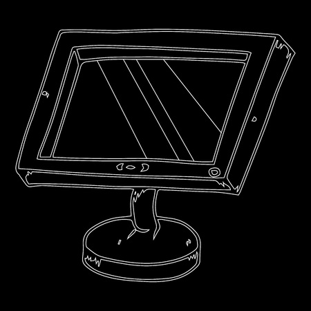 Contour LCD monitor on a black background. Flat computer monitor. LCD monitor. Vector illustration.