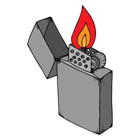 Lighted lighter. An open lighter. Vector illustration. Ilustração Vetorial
