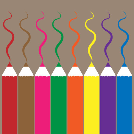 Multicolored pencils. Lines painted with colored pencils. Educational supplies. Vector illustration educational supplies.