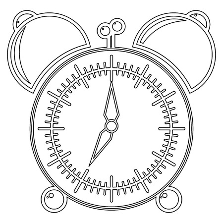 Icon alarm clock. Silhouette of clock with alarm clock. The clock shows 7 am. It's time to go to school or work. Vector illustration. Coloring book.