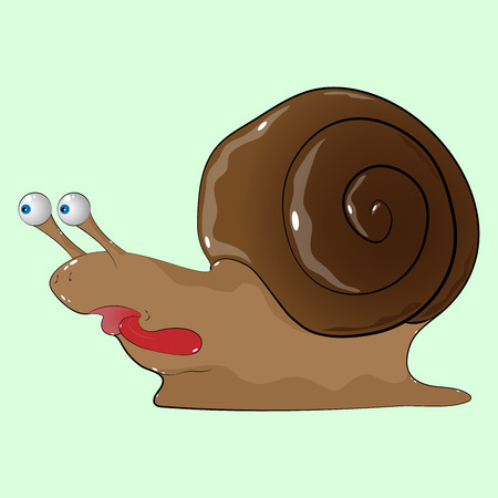 Icon of the snail. Snail with its tongue hanging out. Vector illustration funny cartoon snail.