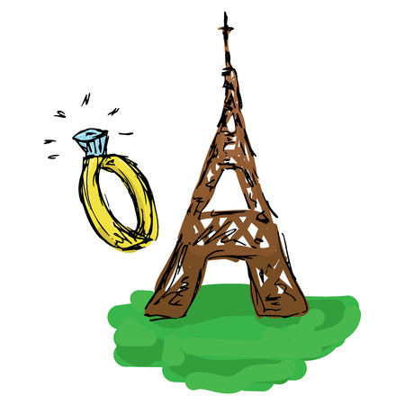 Hand drawn doodle eiffel tower. Symbol of travel in Paris eiffel tower. Concept of romantic travel eiffel tower and wedding ring.