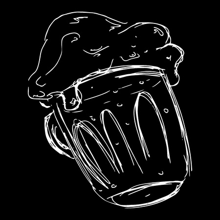 Hand drawn mug of beer. Doodle sketch foamy beer. Vector illustration of an icon, a logo of foam beer in a mug. Illustration
