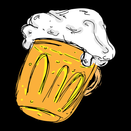 Beer. Doodle glass of frothy beer. Vector illustration of icon beer mug. Hand drawn mug with a frothy beer.