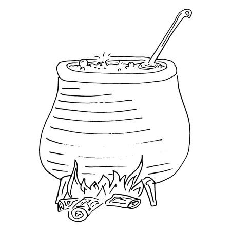 Potion de marmite bouillante. Cuisinez en plein air. Illustration vectorielle d'un pot de soupe sur un feu ouvert. Repas préparé sur un feu de camp lors d'une randonnée. Potion bouillante dessinée à la main pour Halloween.
