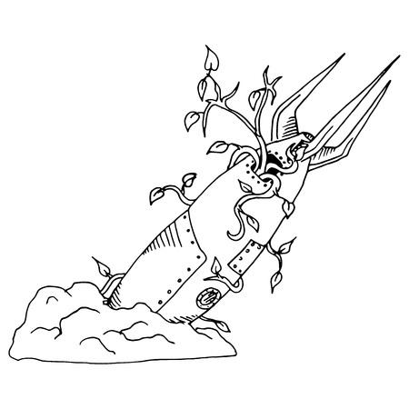 Vector illustration fallen rocket, missile crashed with seedling plants. Hand drawn doodle old crashed missile. Illustration