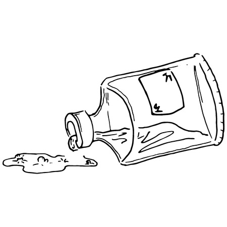 Vector illustration. A can of spilled liquid. Bank with an empty label. Puddle of liquid.