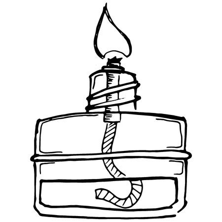Chemical burner. Vector illustration of an alcohol burner. Hand drawn chemical burner, nozzle. Burner for chemical experiments. Chemical Equipment.